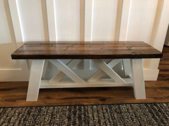 Farmhouse Bench Porch Bench Home Decor Furniture Wood Etsy