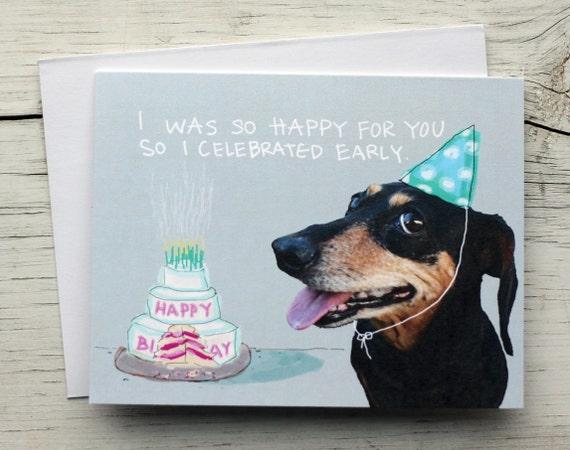 Groovy Birthday Cake Dachshund Dog Card Weiner Dog Card Funny Pet Etsy Funny Birthday Cards Online Unhofree Goldxyz
