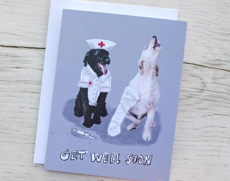 Dog Get Well Card - Funny Nurse Card - Golden Doodles - Pet Greeting Card
