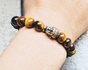 Tiger Eye Lava Rock Crystal Healing Bracelet with Reiki Buddha Charm Diffuser Anxiety Courage Grounding Kundalini