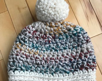 Crochet Women's Hat, Crochet Pompom hat, Crochet Adult Hat, Pompom Hat, Winter Hat, Chunky Textured Crochet Hat, Toque, Cozy Hat