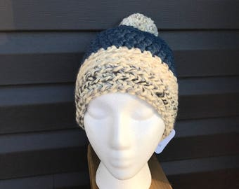 Crochet Women's Hat, Crochet Pompom hat, Crochet Adult Hat, Pompom Hat, Winter Hat, Chunky Textured Crochet Hat, Toque, Cozy Hat, Men's Hat