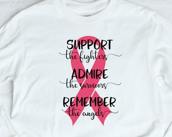 2b08ab40bba Breast Cancer Shirt For Women, Breast Cancer Awareness Shirt, Breast Cancer  Month Shirt, Pink Ribbon Shirt, Breast Cancer Fighter, Survivor
