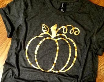 Pumpkin drink T-shirt Unisex fit gold print tshirt