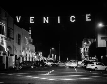 Venice Sign, Digital Download ,Black and White,