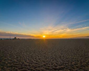 "Sunset,Canvas,Venice Beach,California,Fine Art,Wall Hanging,Panoramic 24""x36"""