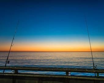Sunset,Fishing,Pier,Venice Beach,High Quality Print,Premium Lustre
