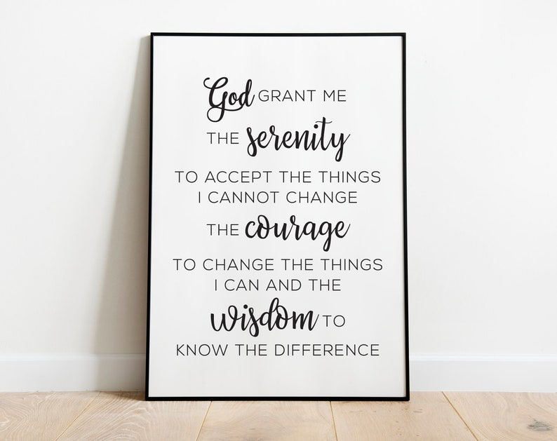 photo regarding Printable Catholic Prayers named Serenity Prayer Printable Catholic Prayer Print Fast Printable Wall Artwork Catholic Present Prayer Reward Christian Artwork Prayer Decor