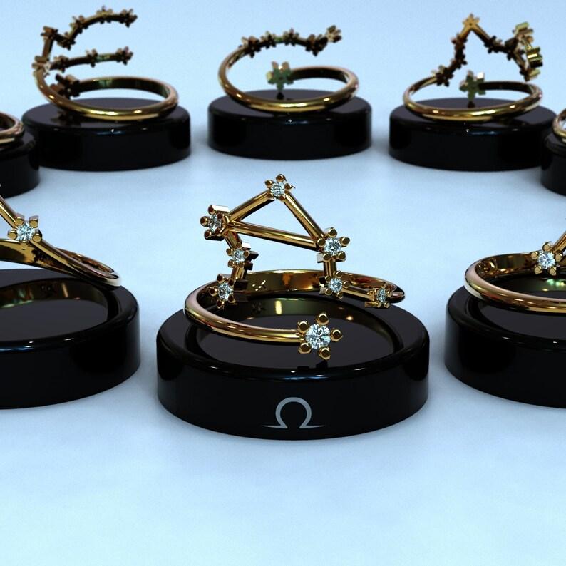 Astrology Sign Ring Horoscope Ring 14k Gold Zodiac Ring Libra Zodiac Ring Constellation Cubic Zirconia