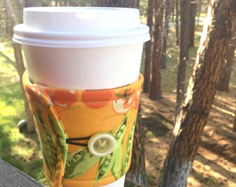 Reusable Coffee Sleeve - Peas & Tomatoes