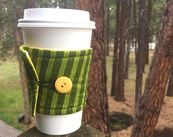 Reusable Coffee Sleeve - Green & Yellow Stripe