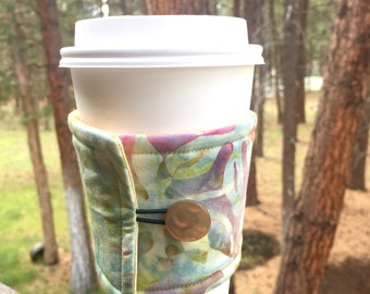 Reusable Coffee Sleeve - Watercolor Batik