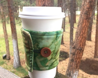 Reusable Coffee Sleeve - Green Watercolor