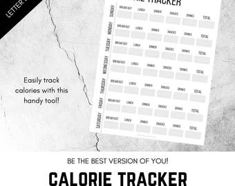 Calorie Tracker, Printable Calorie Log, Caloric Intake, Weight Loss, Fitness, Healthy Eating, Nutrition
