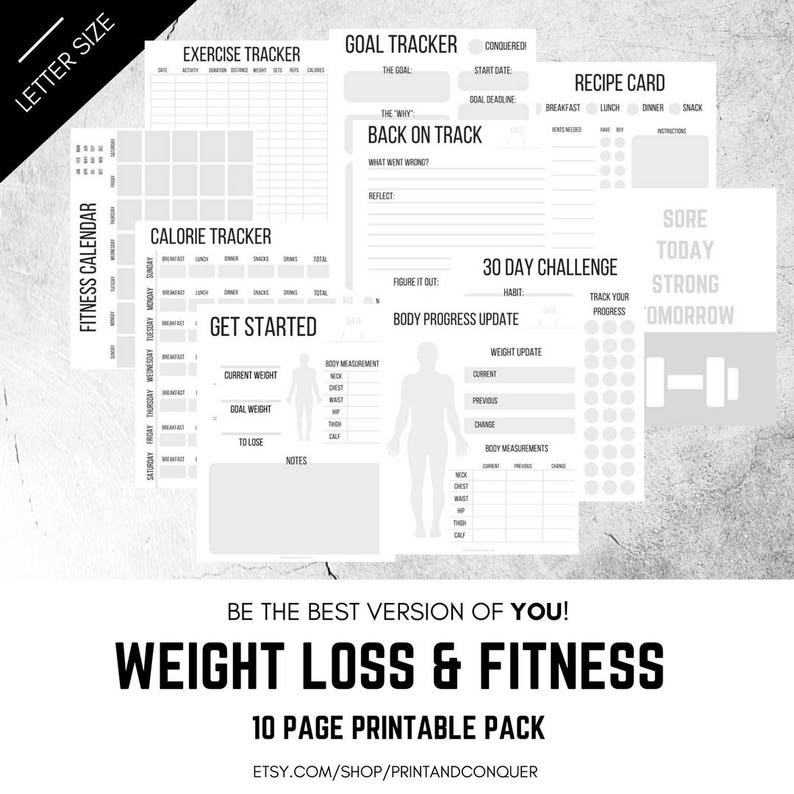 picture relating to Fitness Printables called Excess weight Decline and Exercise Printables, Excess weight Decline Tracker, Health and fitness Tracker, Planner, Package, Healthier Everyday living
