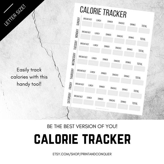 calorie tracker printable calorie log caloric intake weight etsy