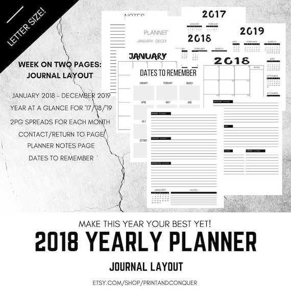 2018 Weekly Planner Printable Planner Journal Layout Etsy