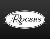 Rogers quot oval quot logo replacement for Bass Drum head - Die Cut - no background