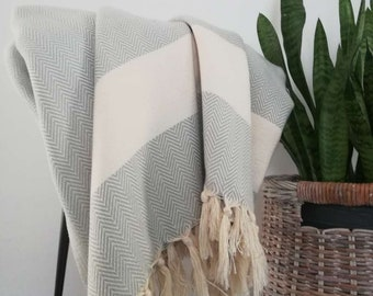 """Grey - Cream Stripes100% Cotton  Classy Modern , Timeless Blanket  Coverlet, Bed Spread, Soft, Natural Cotton Blanket,Throw Blanket 79""""x96"""""""