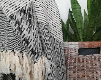 "Constantine 100%Turkish  Cotton Queen Blanket Black  / Cream (Natural) 76"" x 95"", Coverlet, Bedspread, Bed Cover"