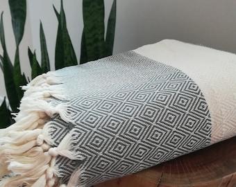 "Turkish Boho Blanket, Dark Gray, 79"" x 96"", Diamond Weave, 100% Turkish Cotton, Blanket,Coverlet, Bedspread, Soft"