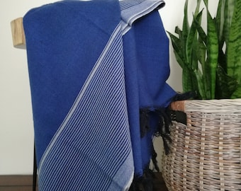 "Sona, Throw Blanket,52"" x78"", Blue,  Handwoven"