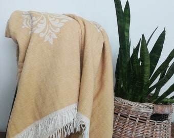 Mustard Yellow Double Sided Damask Design Turkish Cotton Throw Blanket