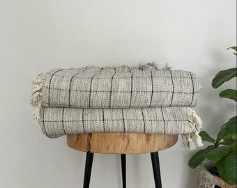 Mine Gray Black Windowpane Turkish Cotton Handwoven Blanket Coverlet I Bedspread