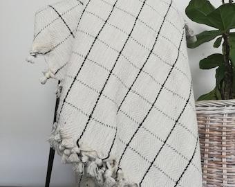 Mine Natural Gray Windowpane Turkish Cotton Handwoven Blanket Coverlet I Bedspread