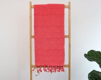 SALE Stonewashed Red Turkish Towel, Peshtemal, Fouta Beas Towel, Spa, Gym, Travel towel, Pareo, Scarf