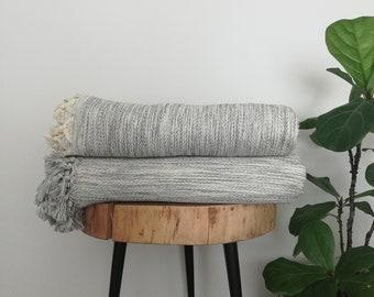 Eli Gray Cotton Handwoven Throw Blanket