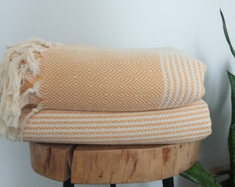 """Turkish Boho Blanket, Dark Yellow , 76"""" x 94"""", 100% Turkish Cotton, Blanket,Coverlet, Bedspread, Soft"""