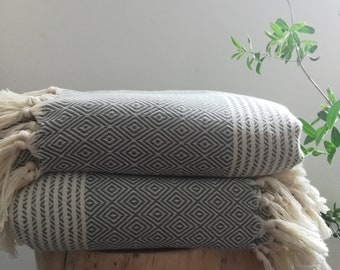 "Constantine Boho Dark Gray / Cream ( Natural)Turkish Blanket, 76"" x 95"", Cotton, Blanket,Coverlet, Bedspread, Bed Cover, Soft, Modern"