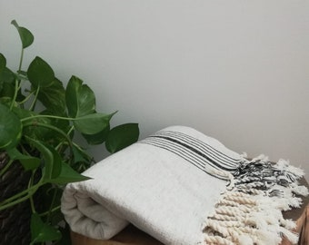 Black and Natural  Linen /Cotton Artisan Towel Authentic  Traditional Handwoven Turkish Towel, Shawl, Throw,Pareo,Sarong,Wrap