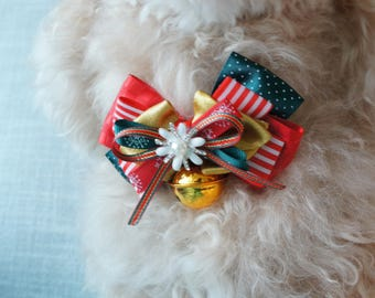 Pet Christmas Holiday Flower Bow & Bell Adjustable Dog Cat Collar