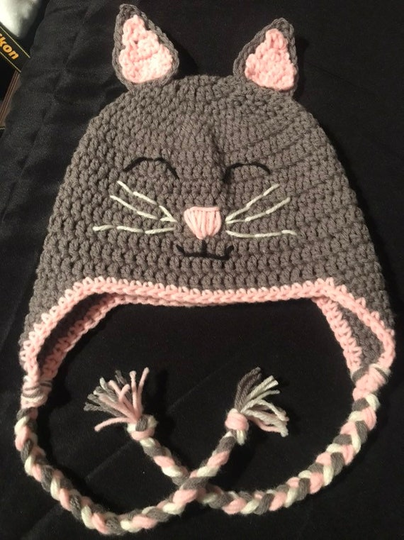 7e0daedcd4b Handmade crochet cat hat Cat hat with ear flaps Crochet cat