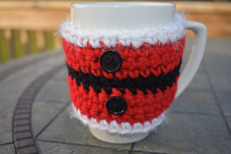 Crochet Christmas Cup Cozy Set Of 2 Santa Cup Cozy Travel Etsy
