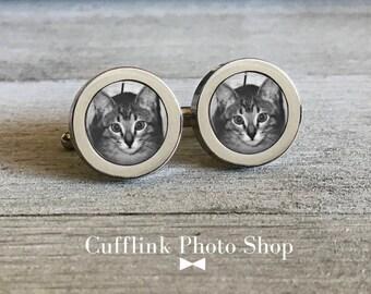 custom wedding cufflinks black cat personalized cufflinks cat cufflink photo groom cufflink custom any text black and white cufflinks