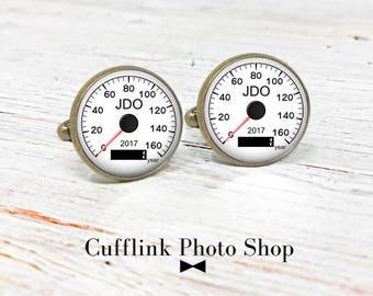 Personalized Cufflinks, Monogrammed Cufflinks, Speedometer Cufflinks, Gift for Car Lovers, Anniversary Gift, Personalized Gift For Him