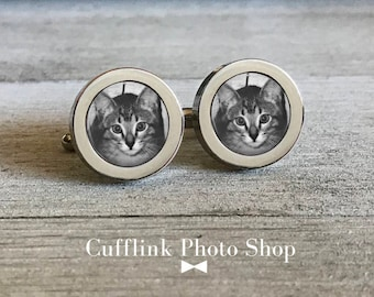 Personalized Cufflinks, Custom Photo Cufflinks, Cat Cufflinks, Pet Cuff Links, Pet Memorial Cufflinks, Gift for Cat Lover, Wedding Cufflink
