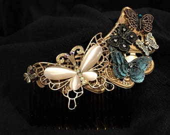 Butterfly comb, vintage style, Art Deco, hair accessories, wedding, prom