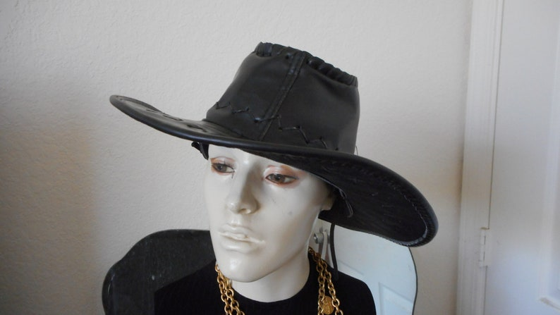 Beautiful faux leather black cowgirl Panama style hat with  efdde53704