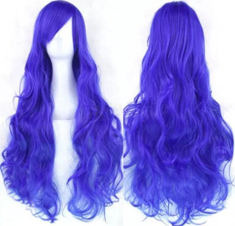 9a939e9b4 Sale sale Customizable DARK BLUE long curly wavy Wig w/ | Etsy