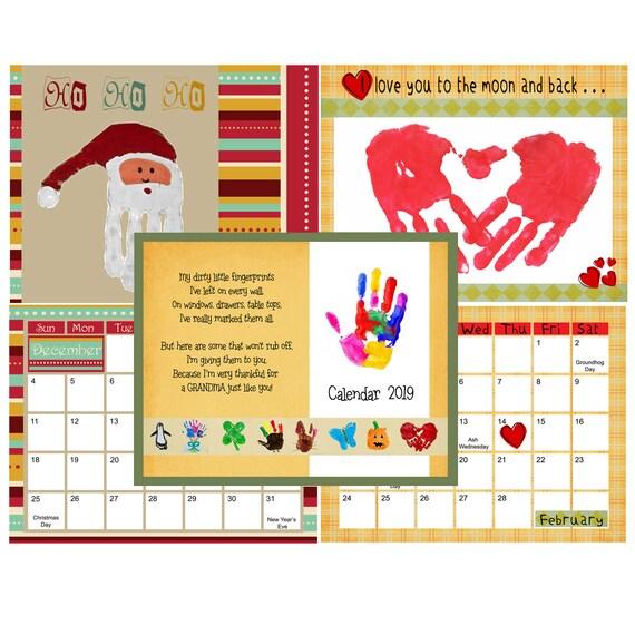 download us handprint calendar 2019 diy template etsy