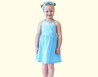 Blue Cinderella Lace Back Dress