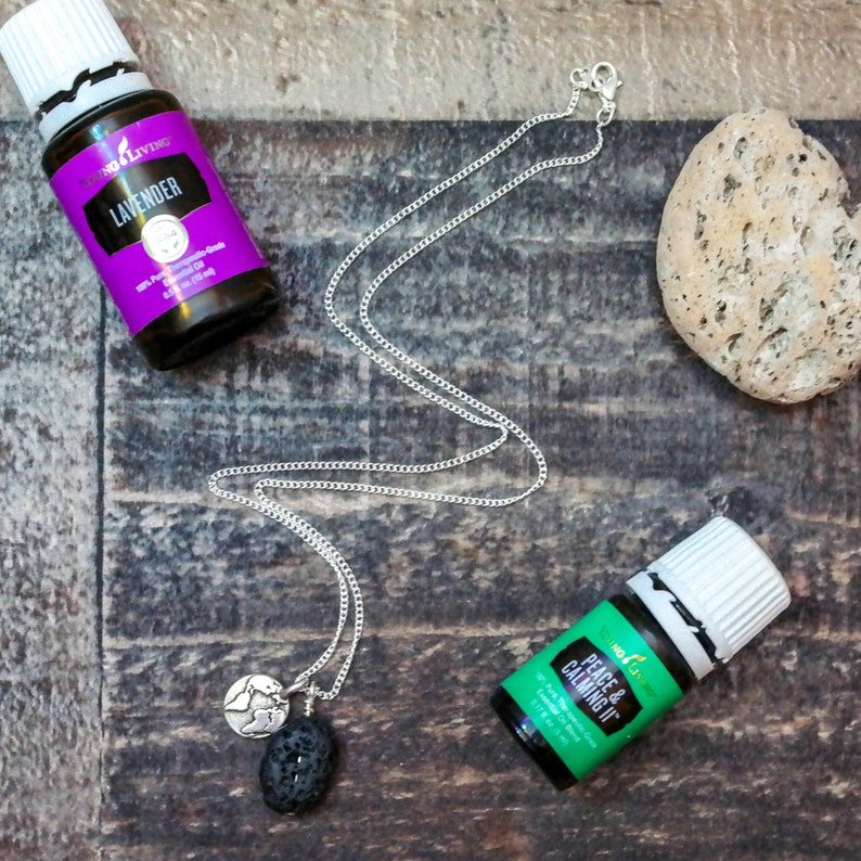 LIMITED QUANTITY! Essential Oil Diffuser Necklace Lava Bead World Charm Travel Jewelry Lava Stone Aromatherapy Jewelry