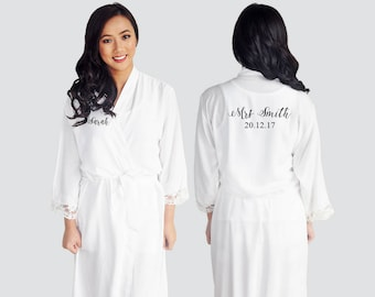 CUSTOM Personalised Cotton Lace Robe Printed Bridal Dressing Gown Bride Tribe Wedding Bridesmaid
