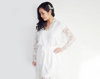 Vintage Lace Bride Robe Bridal Dressing Gown