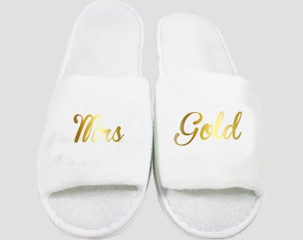 74f2ddf13d56 CUSTOM METALLIC Personalised Slippers - Gold