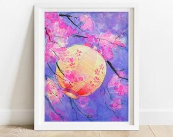Cherry Blossom Art Print - Japan art print, watercolor sakura art print, pink floral wall art, giclee fine art print, Thanksgiving gifts